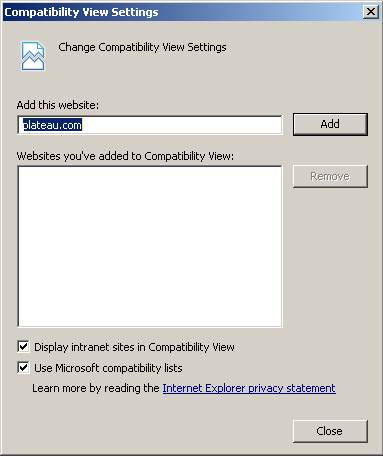 Compatibility Dialog Window